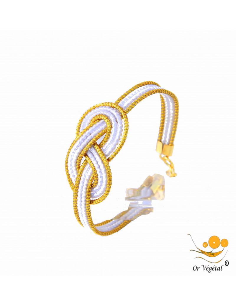 Bracelet en or végétal cerclé & macramé blanc en forme de nœud de huit