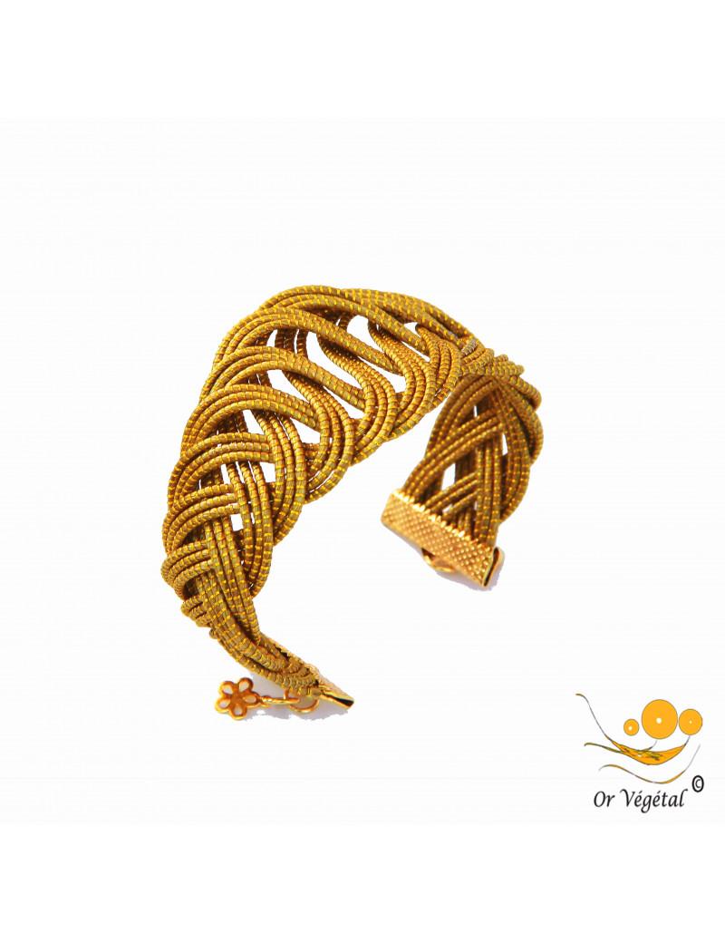 Bracelet en or végétal cerclé entrelacé avec tressage simple
