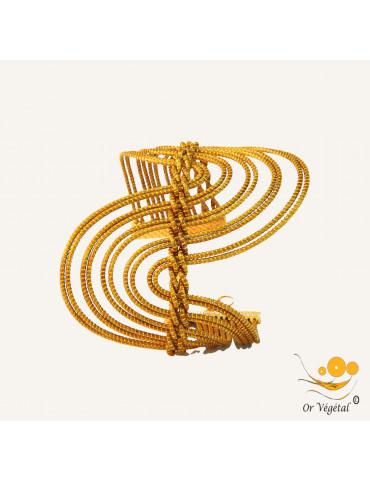 Bracelet manche en or végétal cerclé et entrelacé en forme de vague