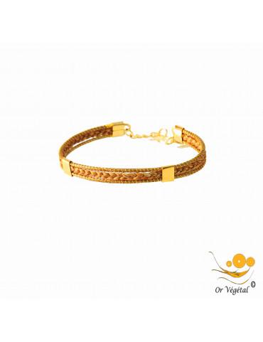 Bracelet en or végétal cerclé et tressé