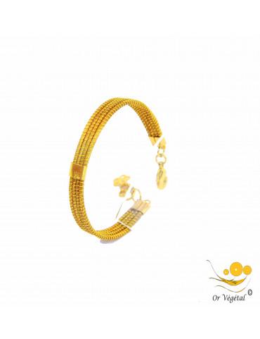 Bracelet rigide or végétal cerclé 4 lignes & décoration en plaqué or