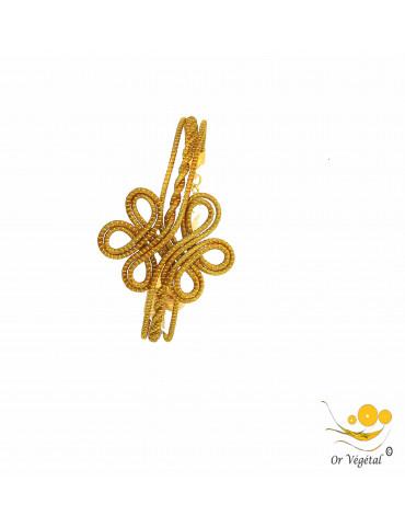 Bracelet en or végétal cerclé et entrelacé en motif de fleur
