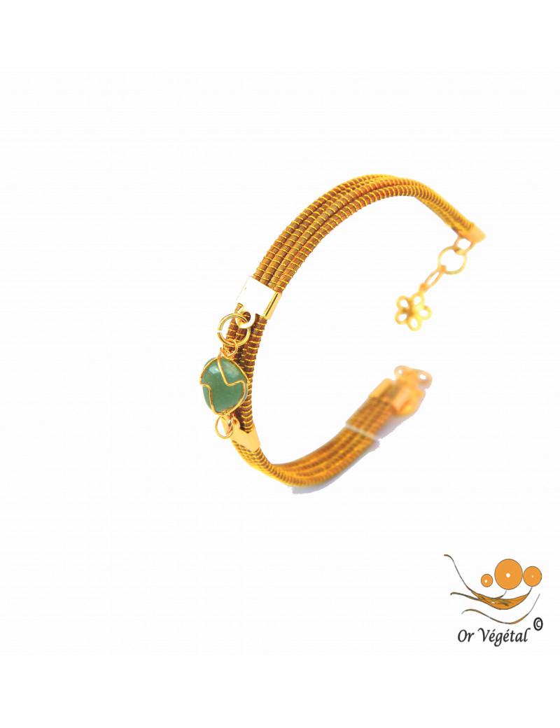 Bracelet en or végétal cerclé 4 lignes avec une aventurine
