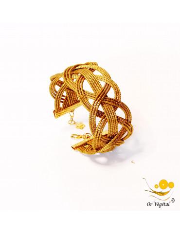 Bracelet en or végétal large cerclé et entrelacé 3 lignes