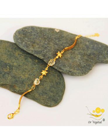 Bracelet en or végétal avec étoile et pierre semi précieuse