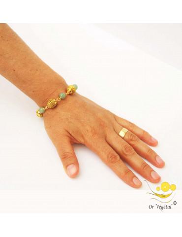Bracelet en or végétal cerclés en forme de spheres & pierre aventurine