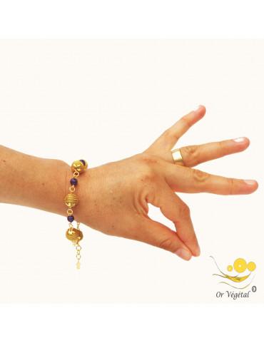 Bracelet en or végétal cerclé en forme de sphères & améthyste
