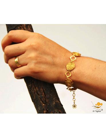 Bracelet en or végétal tressé en chaîne de mini mandalas