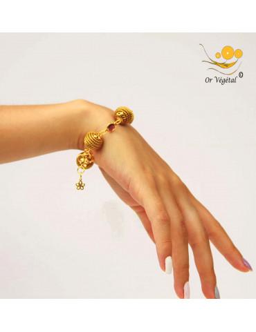 Bracelet en or végétal cerclé en sphères & verre de synthèse améthyste