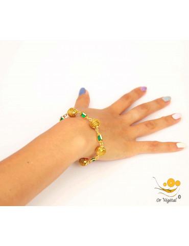 Bracelet en or végétal cerclé en sphères & verre de synthèse émeraude