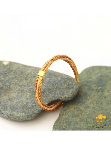 Bracelet souple en or végétal tressé avec burichi et décoration plaqué or