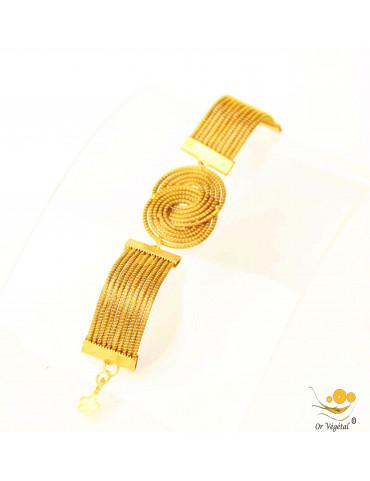 Bracelet articulé en or végétal cerclé en forme de médaillons entrelacés
