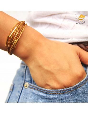 Bracelet souple en or végétal tressé & décorations en plaqué or