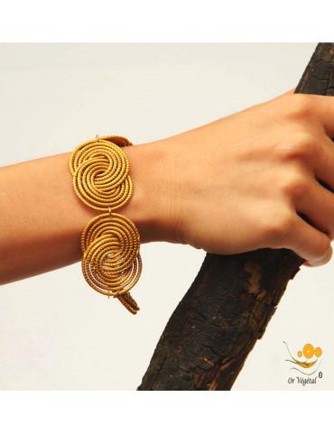 Bracelet en or végétal cerclé en arabesque en double spirale