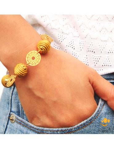 Bracelet en or végétal cerclé en chaîne de sphères & fleur plaqué or