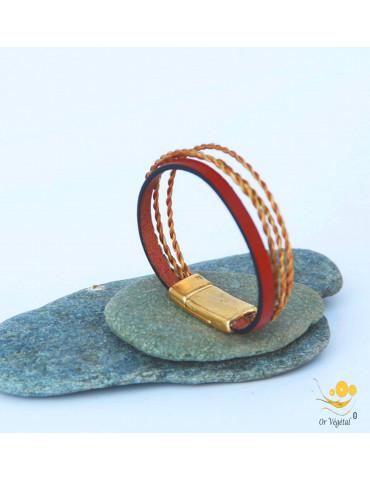 Bracelet souple en or végétal tressé 3 lignes & lanière en cuir teinté