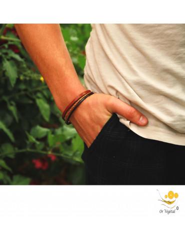 Bracelet souple en or végétal tressé & 2 lanières plate de cuir teinté