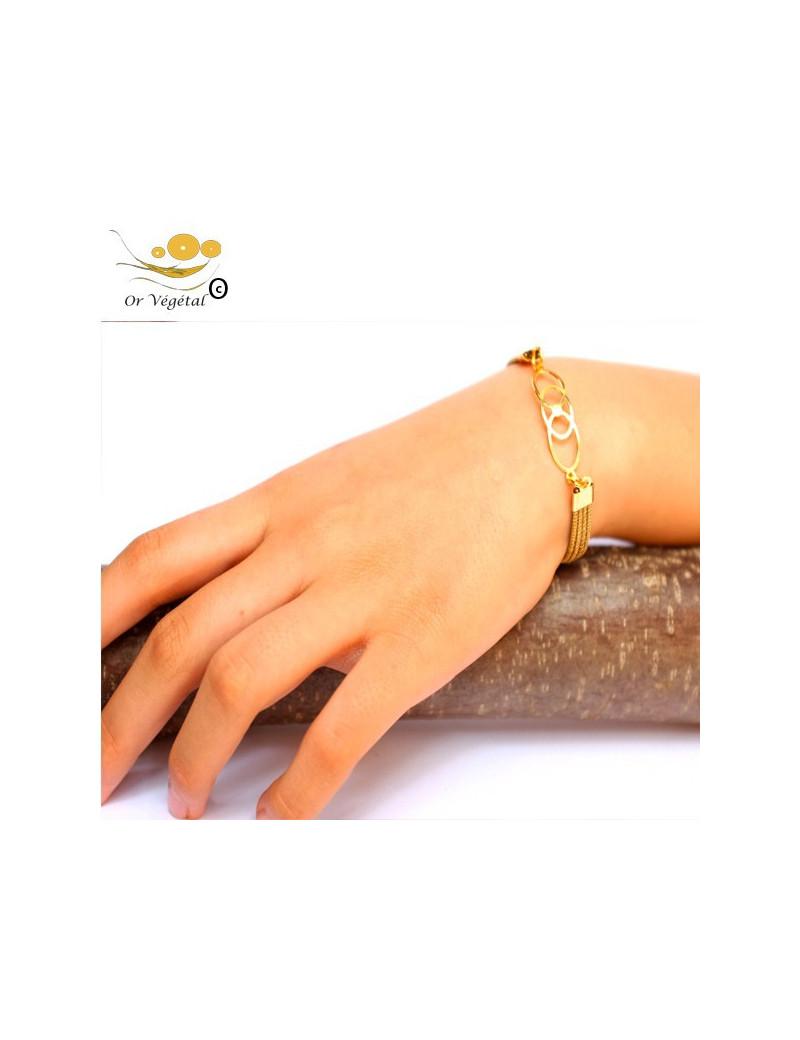 Bracelet articulé en or végétal cerclés & décoration ovale plaqué or
