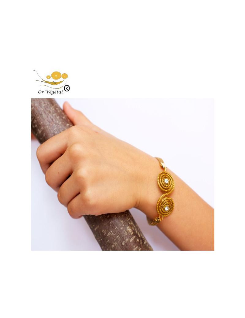 Bracelet en or végétal cerclé en double spirale & strass