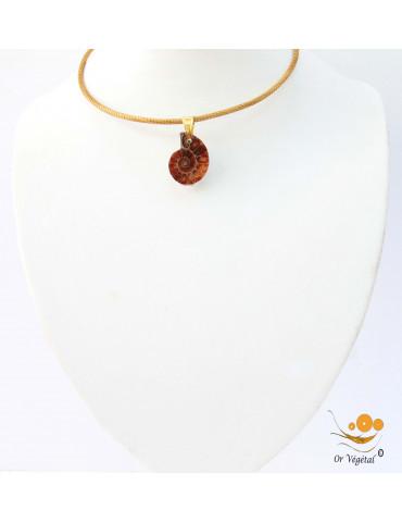 Collier cerclé en or végétal avec pendentif en ammonite