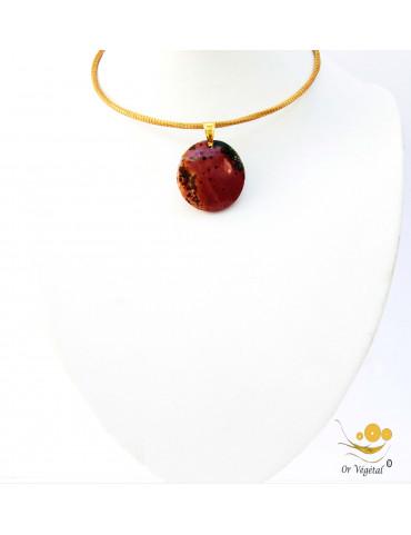 Collier cerclé en or végétal avec pendentif en jaspe rond