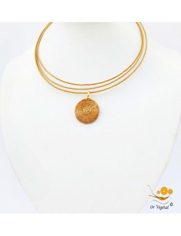 Collier cerclé en or végétal a 3 branches avec pendentif en or végétal cerclé