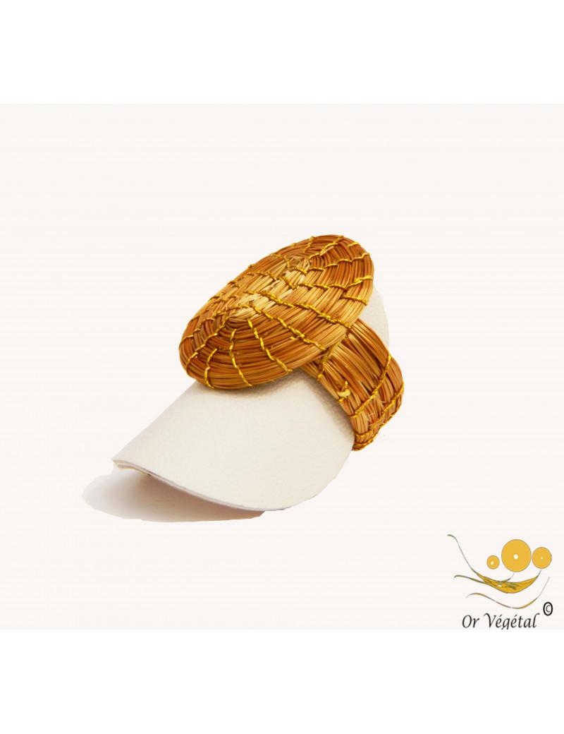 Bague en or végétal tressée non en  forme d'OVAL