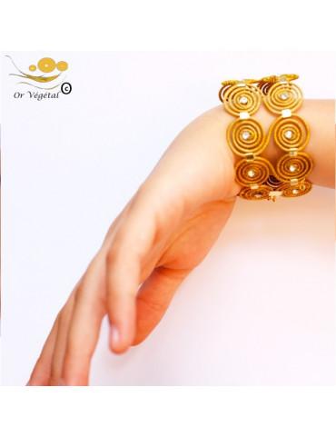 Bracelet en or végétal en forme de chaines de doubles spirales