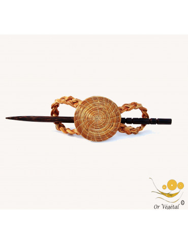 Pic à cheveux en or végétal en forme de mandala et pic en bois