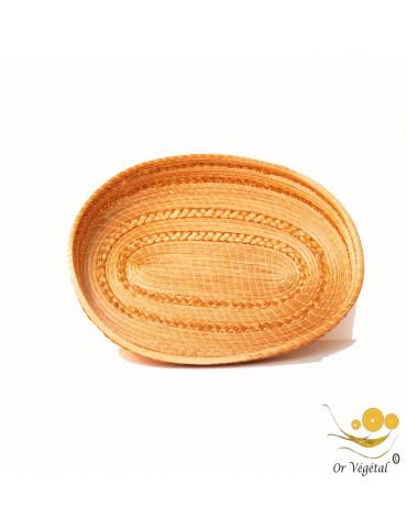 Panière tréssé en or végétal de forme OVALE