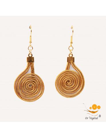 Boucles d'oreille en or végétal cerclé en forme de spirale