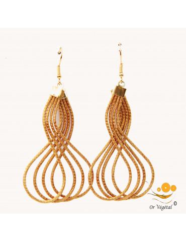 Boucles d'oreille en or végétal en forme d'arabesques a trois lignes
