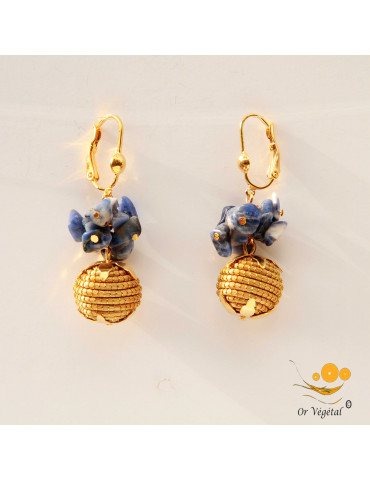 Boucles d'oreille en or végétal en sphères avec mini perles lapiz-lazuli