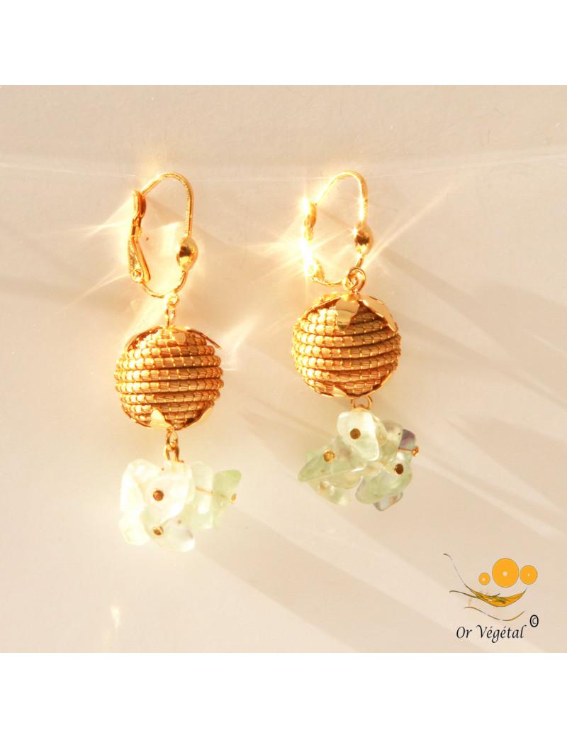 Boucles d'oreille en or végétal en sphères avec mini perles de citrine