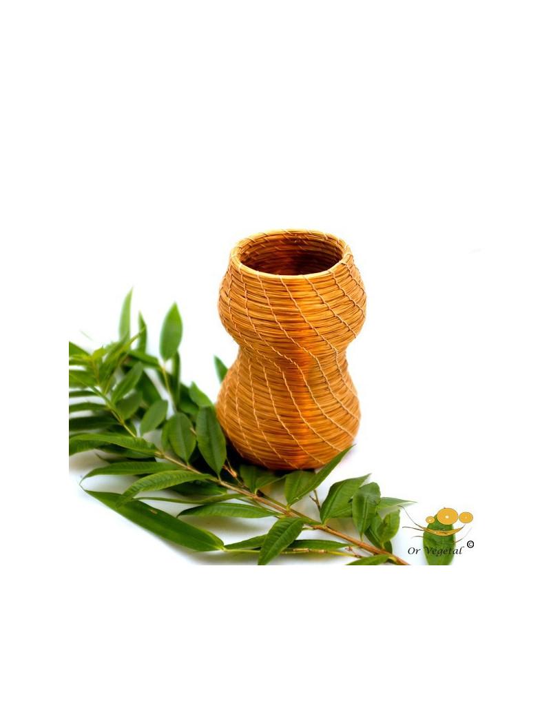 Vase a fleurs séchés, tréssé en or végétal de forme ronde et allongée
