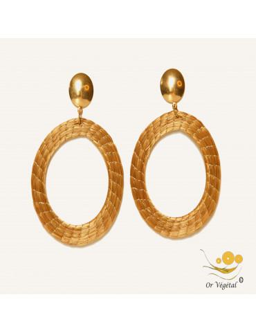 Boucles d'oreilles en or végétal tressés en  forme de cercle  XL