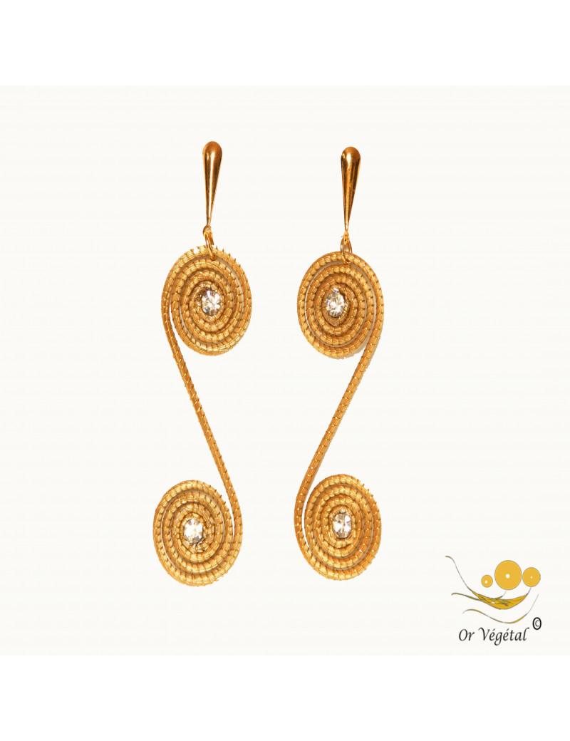 Boucles d'oreilles or végétal double spirale allongée strass au centre
