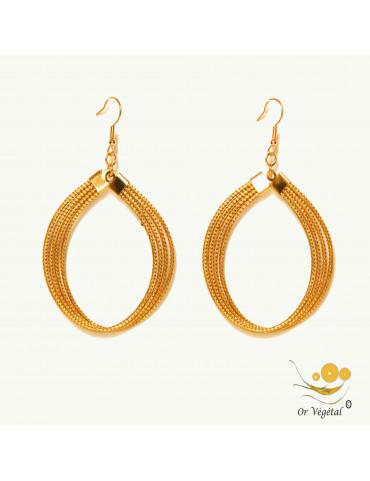 Boucles d'oreilles cerclés en or végétal en forme d'ovale fermé