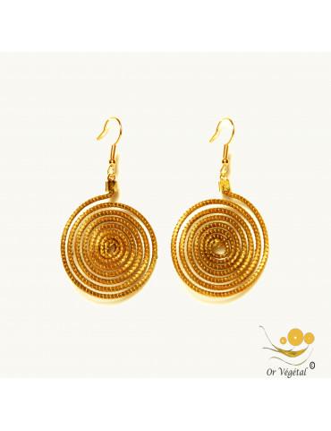 Boucles d'oreilles en or végétal en forme de grande spirale