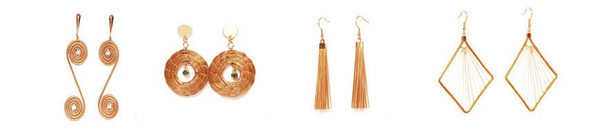 bijoux Boucles d'Oreilles en or vegetal capim dourado